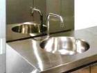 The crisp detailing of the washroom basin.