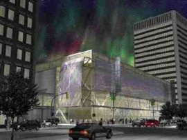 The proposal for the True North Arena unveiled last May, with its faade designed to simulate the Northern Lights
