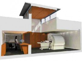Rendering of MRi suite, Saint John Regional Hospital, Saint John, New Brunswick, showing a wood ceiling and clerestory windows in the magnet room, intended to help alleviate claustrophobia.