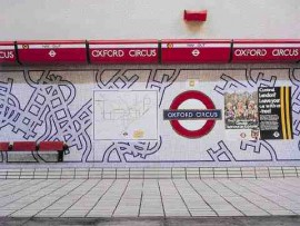 London's Oxford Circus tube station is adorned with 20mm x 20mm, mosaic tile by Biasazza