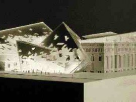 "A model of ""The Crystal,"" Daniel Libeskind's proposal for the Royal Ontario Museum's expansion."