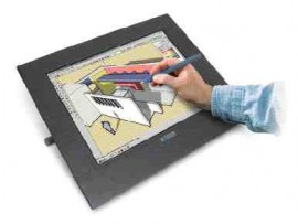 The Cintiq 15x from Wacom Inc. combines a full-colour LCD monitor and a pressure-sensitive drawing tablet.