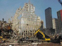 Remnant of one of the World Trade Center towers, New York. Not everything can be predicted. It will be some time before the behaviour of buildings under extreme disaster loads may be properly modelled. Sadly, we continue to learn more from catastrophic failures than from successful precedents.