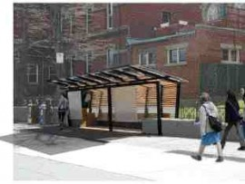 The winning entry by Chris Lee and Rory Heath of Dalhousie University proposes an elegant shelter on Barrington Street in downtown Halifax.