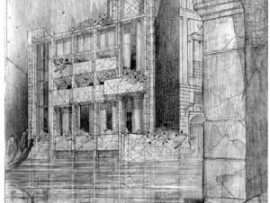 Wright's sketch for the Masieri palazzino, proposed for Venice's Grand Canal.