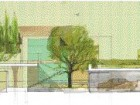 "Conceptual sketch shows roof planting on the Guest House, imagined as a ""non-building"" in order to preserve the integrity of the neighbourhood and Tudor heritage building on the site."