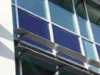 Detail of the sunscreen assembly with a photovoltaic array