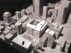 A site model showing the CDP Capital Centre within its context. Note the Place Jean-Paul-Riopelle located in front of the CDP and the series of proposed buildings to the right of the complex (located on the north side of rue Viger).