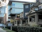 Looking toward Thurlow, the Comox streetscape transitions from a residential scale to one that is more institutional