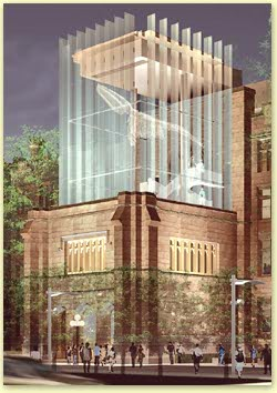 Detail view of the new glass tower.