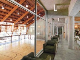 Caf on the main floor with views to the gymnasium below.