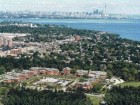The campus in its context, with downtown Toronto visible in the background.