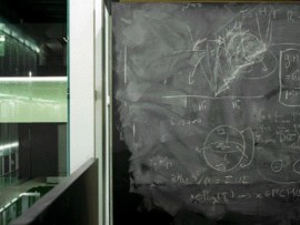 A view of one of the meeting rooms, complete with floor-to-ceiling chalkboards.