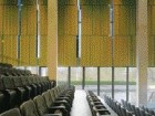 Stepped lecture theatre offers controlled views to the reflecting pool.