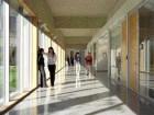 A full wall of glazing illuminates the sociable spaces of the corridors