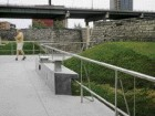 the guardrails at Fort York incorporate a drinking fountain as part of the new visitor itinerary