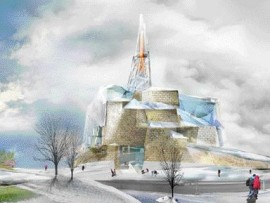 Rendering of Antoine Predock's Canadian Museum of Human Rights winning proposal is highly suggestive of a fairytale landscape with a painterly representation of Tyndall stone walls. A Tower of Hope caps off the program requirements in a most literal expression.