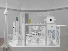 Douglas Coupland's pristinely white urbanscape is created from scale models and bits and pieces of toy building kits.