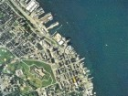 an aerial photograph of downtown Halifax with the site circled in red