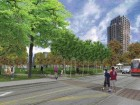 A street-level rendering of the eventual park proposed for the neighbourhood.