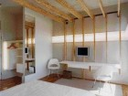 Two Views of Room 411 by Heather Dubbeldam and Tania Ursomarzo Reveal a Continuous Horizontal Band of Lighting and a Wood Framing Structure That Defines a Room Within a Room.