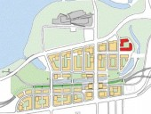 The Proposed Site Plan With Block 1 Highlighted in Red.