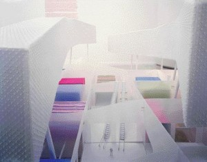 """Program Layering Is Evident in the Soft Tufted Housing """"Noodles"""" Undulating Above the Smaller Retail Spaces on the Second Floor, From Which Escalators Descend to the Ground-Floor Big-Box Retail Emporiums"""