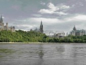 When Viewed From the Quebec Side of the Ottawa River, the Saucier-Led Scheme Is Conscious of the Dramatic Topography While Acknowledging a Variety of Datum Lines Within the Parliamentary Precinct. This Scheme Had the Potential of Writing a New Chapter in Contemporary Architecture That Is Representative of Canada, Without the Pastiche of Peaked Copper Roofs and a Neo-Gothic Language.