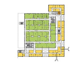 3rd FloorColour-coding of the first- and third-floor plans clearly indicates the separation of spaces, particularly that of the pale orange office perimeter and green laboratory core.