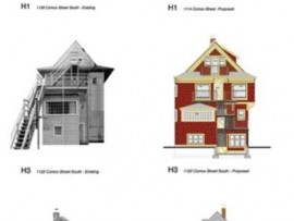 A Series of Elevations Indicate the Additions and Code Upgrades to the 27 Properties in Mole Hill.