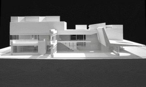 Canopy Roof Structure Defines One Side of the Central Courtyard in This Sectional Rendering.