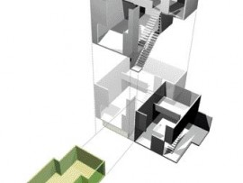 Exploded Axonometric Rendering Reveals the Upper and Lower Levels of Each Townhome Along With the Optional Flex Space.