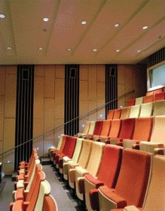Inspired by the Pattern of Autumn Leaves, the Auditorium Uses Randomly Coloured Upholstery Seating to Help Make the Intimate Space Appear Larger.