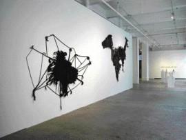 The Wall-Mounted Hair Tapestry Entitled Left Brain Right Brain (2005), by Hrafnhildur Arnardottir.