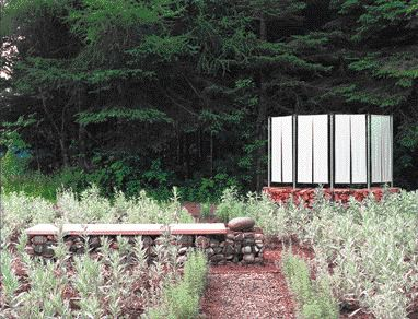 Two of the Many Distinct Landscape Elements Comprising Plant Architect's Installation at the Metis Gardens in 1999.