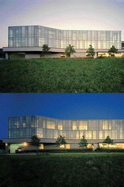 Day and Night Views of the East-Facing Library Wing.