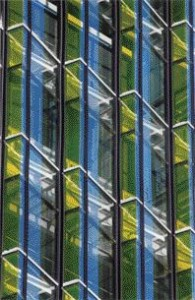 Detailed View of the Coloured Sawtooth Glass Pattern on the West Elevation.