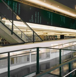 Transparent Circulation Routes and Clever Signage Effectively Aid Wayfinding Within the Library.