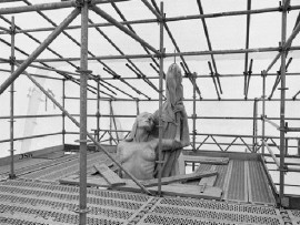 "The Allegorical Figure Representing ""Peace"" That Sits Atop the West Pylon of the Allward Monument Is Shrouded by Scaffolding and Translucent Plastic."