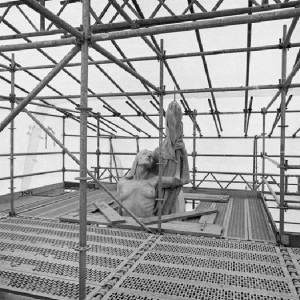 """The Allegorical Figure Representing """"Peace"""" That Sits Atop the West Pylon of the Allward Monument Is Shrouded by Scaffolding and Translucent Plastic."""