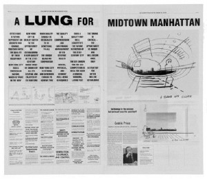 """Cedric Price's """"Design of Cities"""" Entry for the 1999 CCA Ideas Competition Summarizes His Pulmonary Position on Manhattan Urbanism."""