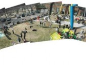 Panoramic Photo Illustrates the Successful Activation of Butterfield Park by the Ocad Students and Their Installations.