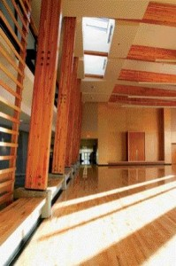 The Timber Structure Cleverly Demarcates This Multipurpose Room With Opportunities for Wood Screens and a Sculptural Ceiling Replete With Skylights.