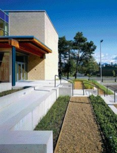 At the Rear of the School, Planting Beds Arranged in Tiers and Fortified With Concrete Benches Overlook a Sports Court Which Can Also Be Used for a Variety of Outdoor Activities.