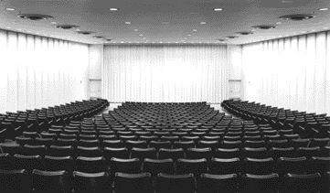 Interior of the Theatre Space Itself Boasts the Regularized Rhythmic Rigour That Is All Mies.