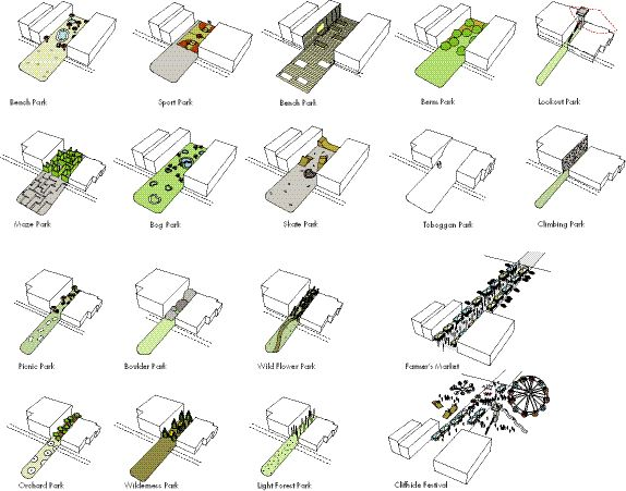 Entitled Cliffside Slips, the Winning Proposal for the Orphaned Spaces Design Competition Presented a Tool Kit for a Variety of Pocket Parks in Scarborough's Cliffside Village.