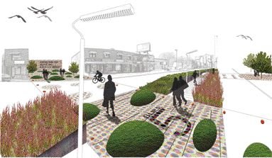 A Depicton of the Transformation of Cliffside Village From a Busy Suburban Road Into a Locally Inspired Urban Landscape.