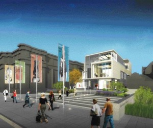 Rendering Depicts A Welcoming Forecourt to a Revitalized Gardiner Museum for Ceramic Art on Queens Park in Toronto.