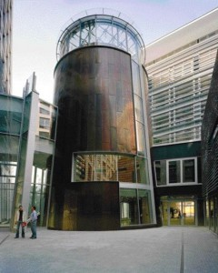 The Drum-Shaped Structure Containing the Timber Hall in the Canadian Embassy in Berlin.