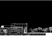 the Longitudinal Section Illustrates the Building's Additional Floor, Glazed Facade, and a Reinvigorated Relationship to the Park.
